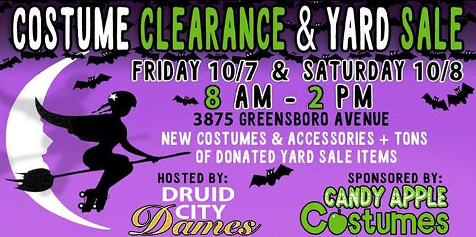 tuscaloosas roller derby team holding halloween costume yard sale