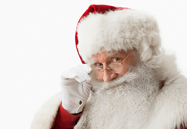 Close up of Santa claus touching his eye glasses